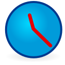 Blue round clock with red hands at 11:21